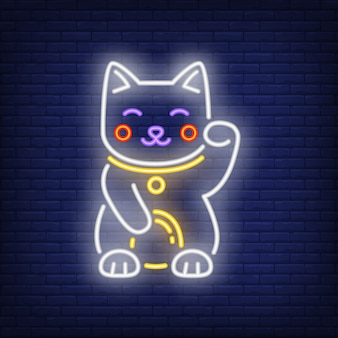 Манэки неко кошка неоновая вывеска
