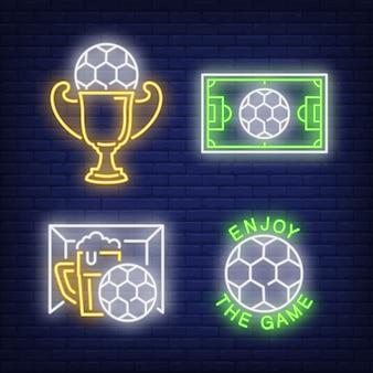 Футбол неоновый знак установлен. футбольный мяч, пиво, чашка