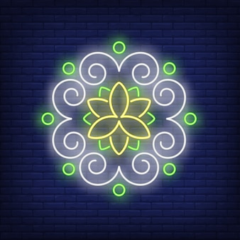 Круглый цветочный узор мандалы неоновая вывеска