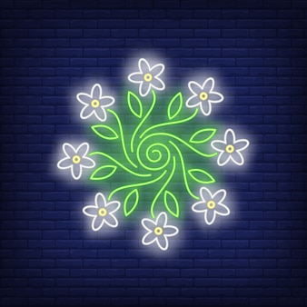 Круглый цветочный орнамент эмблема неоновая вывеска