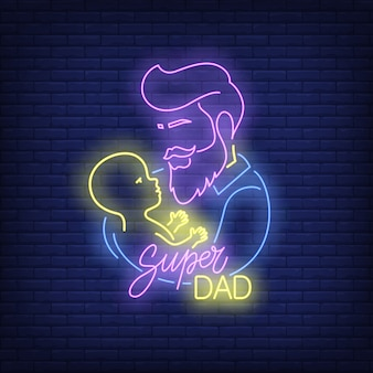 スーパーお父さんネオンテキストと子供と父親