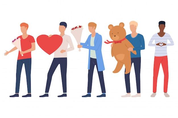 Набор мужчин собирается на свидание. ребята держат сердце