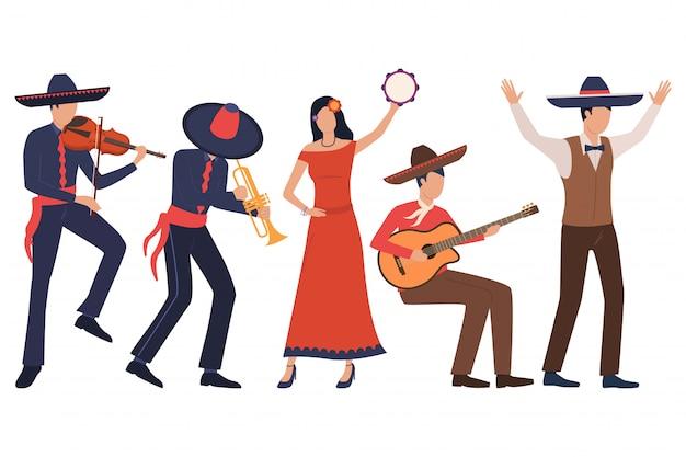 Набор мексиканских музыкантов. мужчины в сомбреро играют на инструментах