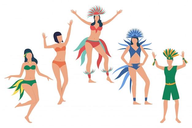 ブラジル国民の祝日を祝う人々のセット