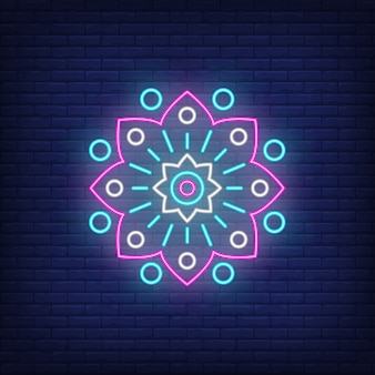 抽象的な円形の花エンブレムネオンサイン
