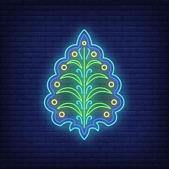 葉のネオンサインと抽象的なエンブレム。装飾、ロゴ。