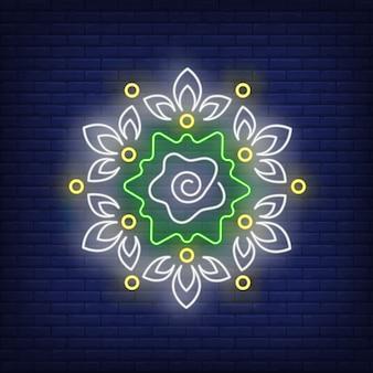 Цветочный узор круглой мандалы неоновая вывеска