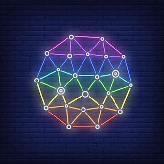 ネットワークメタファーネオンサイン。技術、インターネット、ネットワーク