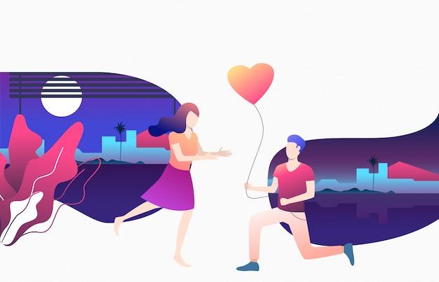 Человек, давая воздушный шар в форме сердца для подруги