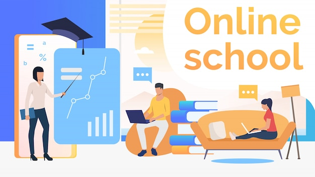 Люди учатся в онлайн школе, домашнем интерьере и учителе