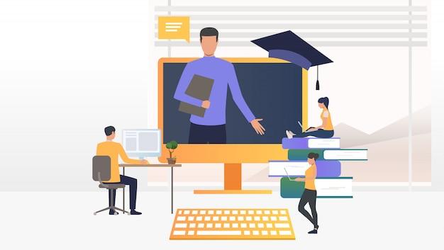 コンピューターを使用し、オンライン学校で勉強している人々