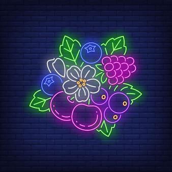 さくらんぼ、ラズベリー、ブルーベリー、花と葉のネオンサイン。