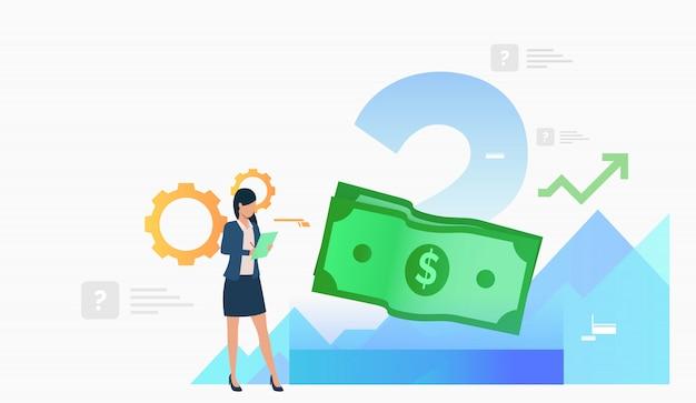 ビジネスの女性の作業とメモを作る