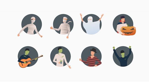 ハロウィーンの衣装の人々のセット