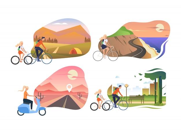 Набор людей, езда на велосипедах