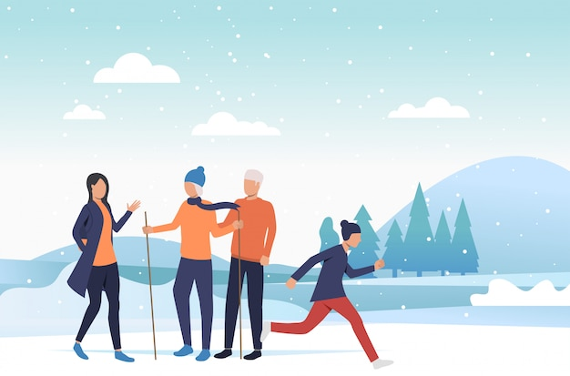 冬のアクティビティを楽しむ家族