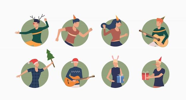 クリスマスを祝う人々セットバナー