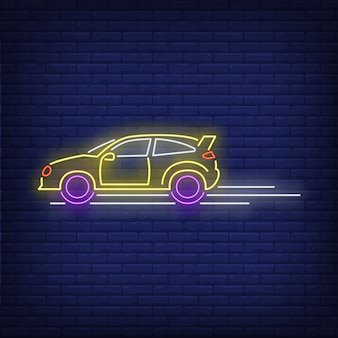 Машина едет быстро неоновая вывеска