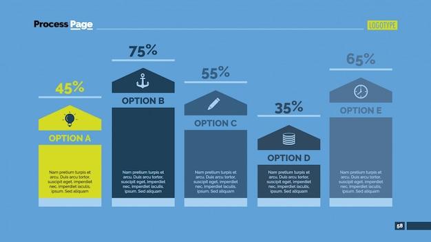 統計情報のインフォグラフィックデザインによる複数のオプション