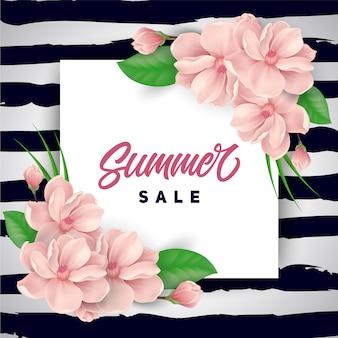ピンクの花夏の販売の背景