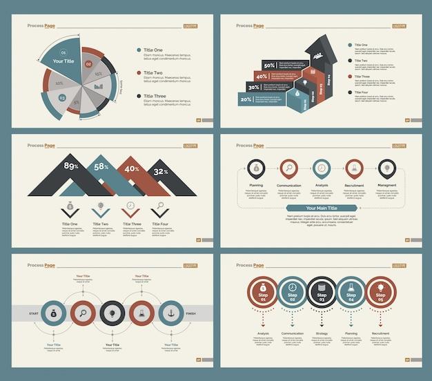 Набор шаблонов слайдов для шести бизнес-диаграмм