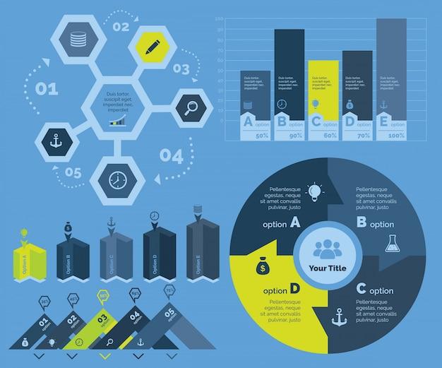 Набор шаблонов пяти маркетинговых диаграмм