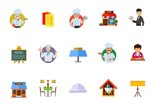 Обеденный набор иконок в ресторане