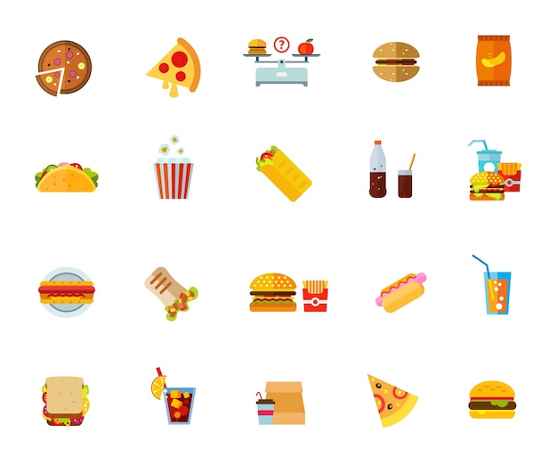 脂肪質の食物アイコンセット