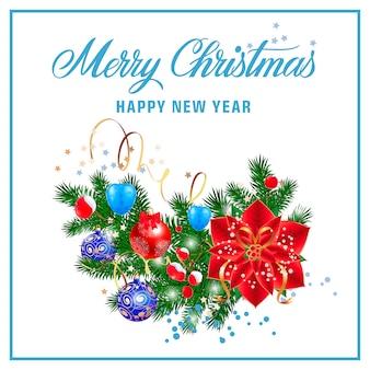 Новогодняя и рождественская надпись в рамке