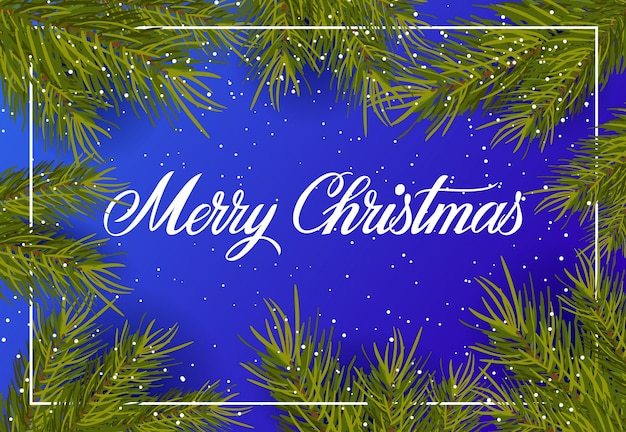 Рождественские надписи на зимнем фоне