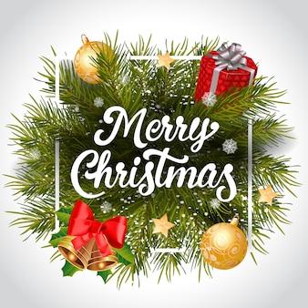 フレームの花輪とメリークリスマスレタリング