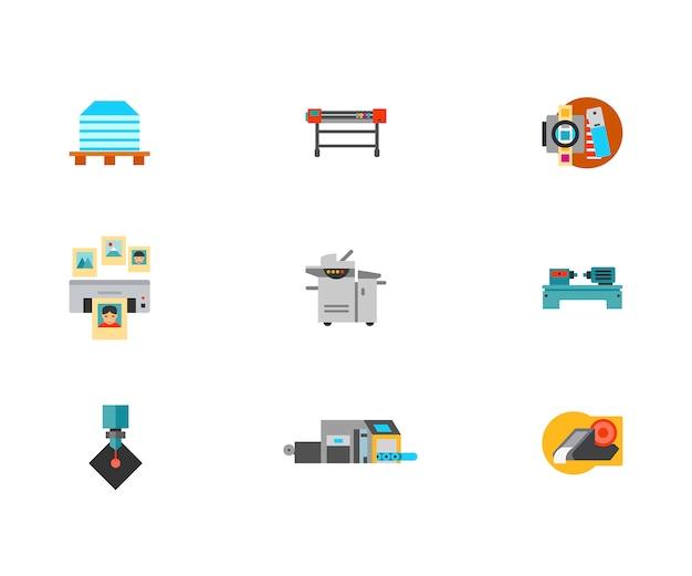 Набор значков печатной машины