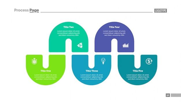 Процесс инфографика с пятью элементами