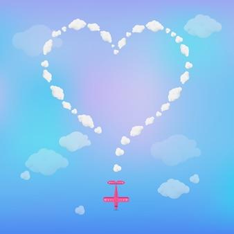 Самолет, рисующий сердце в небе