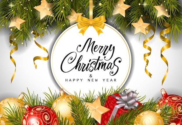 Рождественская и новогодняя надпись на теге