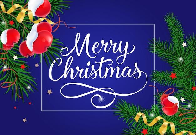 Веселые рождественские надписи с ягодами