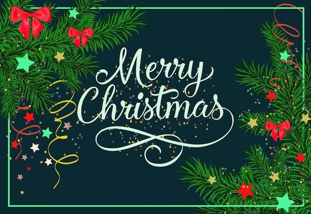 Веселая рождественская надпись с пихтой