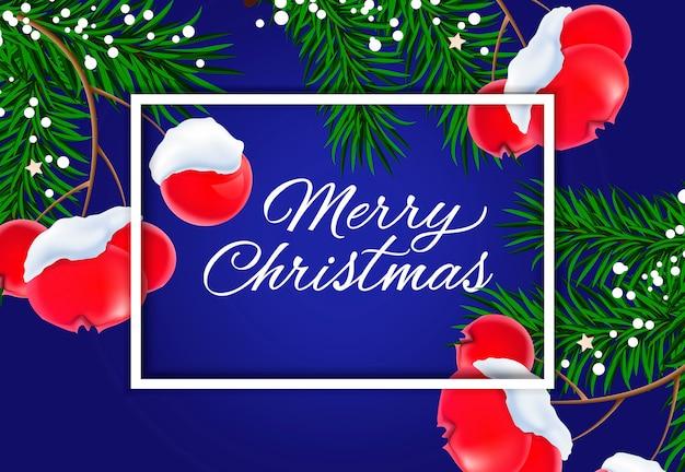 Веселая рождественская надпись с омелой
