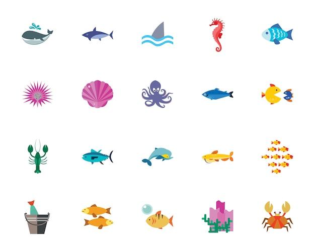 Набор значков морских существ