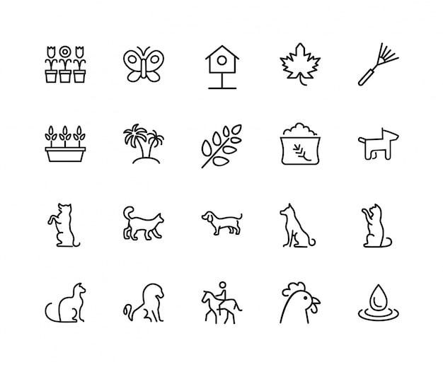 Набор иконок для животных и растений