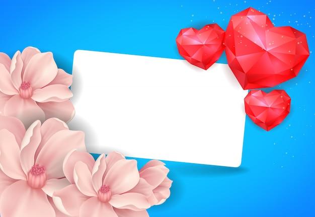 ハートを持つバレンタインポストカード