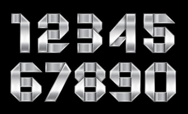 輝くクロムリボンから折り畳まれた金属の数字