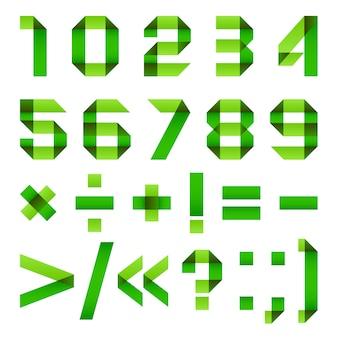 フォント緑折り紙