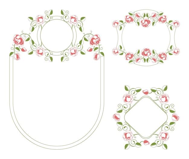 花飾りのビネットとフレーム