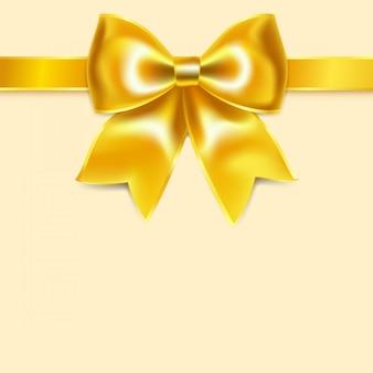 Желтый бант из шелковой ленты, изолированный