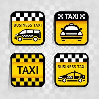 Такси - набор квадратных стикеров