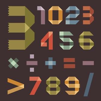色付きのスコッチテープのフォント-アラビア数字