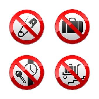 Установить запрещенные знаки - аэропорт