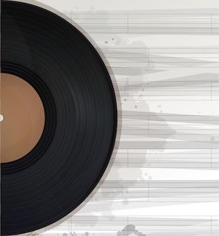 音楽レコードの背景、コピースペース付きのテキストカード