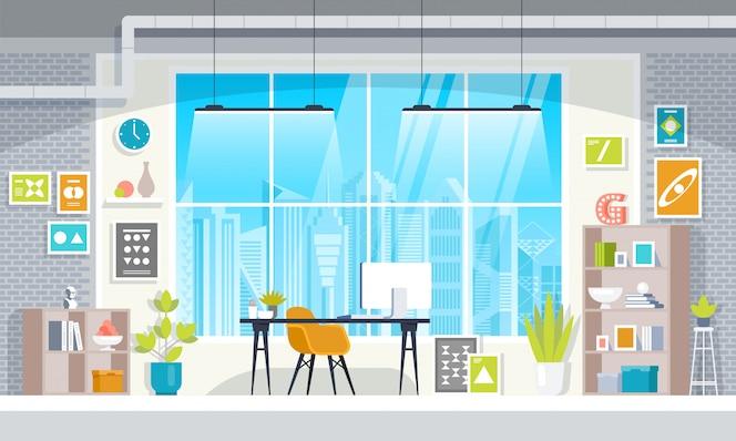 現代のオフィスデザイナーの職場のコワーキングフラットデザイン。